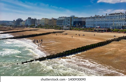 Eastbourne beach panorama; Eastbourne sea front panorama,