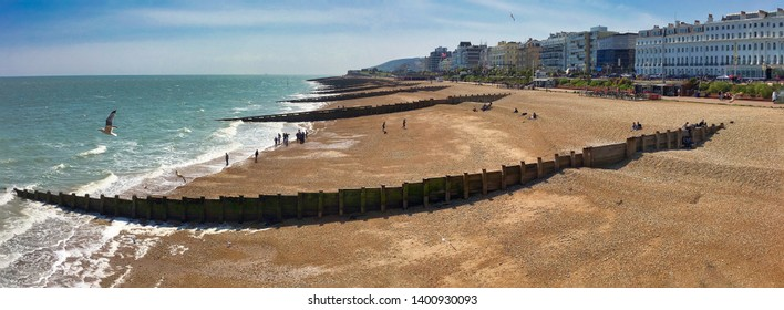 Eastbourne beach panorama; Eastbourne sea front panorama,