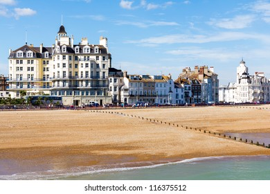 Eastbourne beach and seafront as seen from the pier, East Sussex England UK
