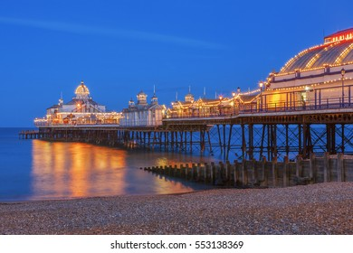 Eastbourne, East Sussex: 13 July 2008 - Eastbourne pier illuminated at Twilight