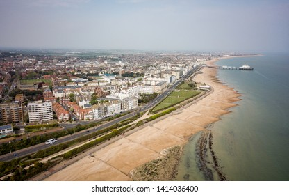 Eastbourne, East Sussex, England. An aerial view of the coastline and beach at Eastbourne on the south coast of England.