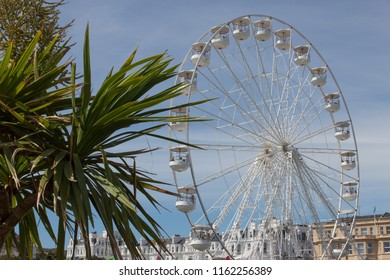 Eastbourne, East Sussex, England, UK - 08/17/2018. Airbourne (Eastbourne International Airshow).  The Big Wheel is a new attraction at the airshow. Seeing the planes from the wheel is quite novel.