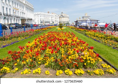 EASTBOURNE, EAST SUSSEX, ENGLAND, UK-APRIL 22nd 2018: Beautiful flowers and spring sunshine were enjoyed by visitors to Eastbourne, East Sussex, on Sunday 22nd April 2018