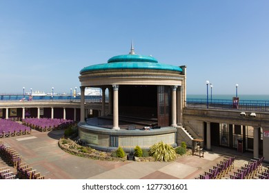 EASTBOURNE, EAST SUSSEX, ENGLAND, UK-APRIL 22nd 2018: Eastbourne bandstand prepared for the next performance in the beautiful spring weather Eastbourne, East Sussex, on Sunday 22nd April 2019