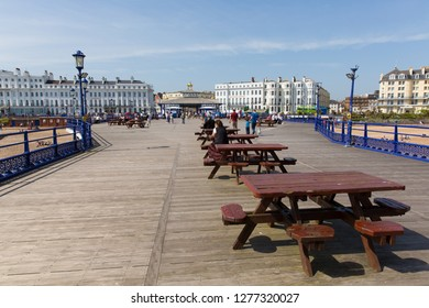 EASTBOURNE, EAST SUSSEX, ENGLAND, UK-APRIL 22nd 2018: Tourists and visitors enjoying Eastbourne Pier in the beautiful spring weather, Eastbourne, East Sussex, on Sunday 22nd April 2018