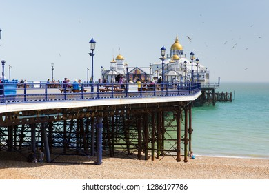 EASTBOURNE, EAST SUSSEX, ENGLAND, UK-APRIL 22nd 2018: Tourists and visitors were attracted to Eastbourne Pier by the beautiful spring weekend weather, Eastbourne, East Sussex, on Sunday 22nd April 201