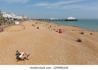 EASTBOURNE, EAST SUSSEX, ENGLAND, UK-APRIL 22nd 2018: The glorious spell on spring weather attracted visitors to the beach at Eastbourne, East Sussex, on Sunday 22nd April 2018