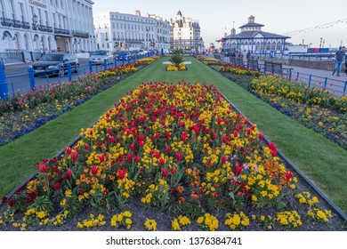 Eastbourne, East Sussex / United Kingdom - April 20 2018: Eastbourne carpet gardens on the seafront