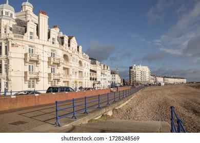 Eastbourne, East Sussex / United Kingdom - May 02 2020: Deserted promenade on Eastbourne seafront during Coronavirus lockdown.