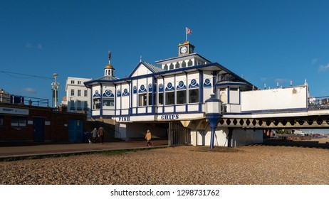 EASTBOURNE, EAST SUSSEX/UK - JANUARY 28 : View of Eastbourne Pier in East Sussex on January 28, 2019. Unidentified people