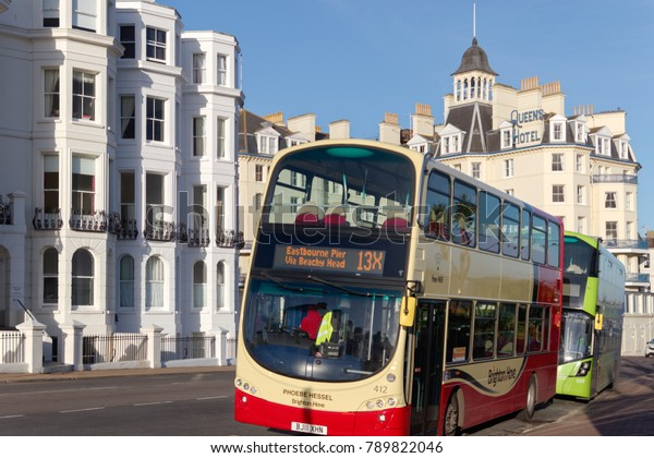 Eastbourne East Sussexuk January 7 Buses Stock Photo (Edit
