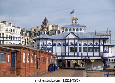 EASTBOURNE, EAST SUSSEX/UK - NOVEMBER 4 : View of Eastbourne Pier in East Sussex on November 4, 2018. Unidentified people