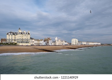 EASTBOURNE, EAST SUSSEX/UK - NOVEMBER 4 : View of the seafront in Eastbourne East Sussex on November 4, 2018. Unidentified people