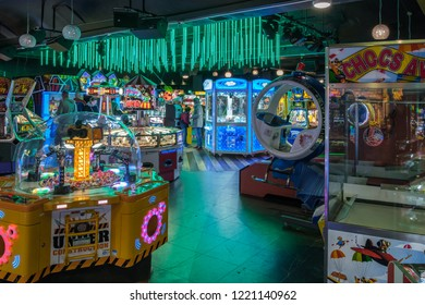 EASTBOURNE, EAST SUSSEX/UK - NOVEMBER 4 : View of an amusement arcade on Eastbourne Pier in East Sussex on November 4, 2018