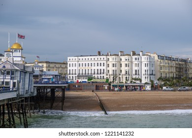 EASTBOURNE, EAST SUSSEX/UK - NOVEMBER 4 : View of Eastbourne Pier  and Hotel in East Sussex on November 4, 2018. Unidentified people