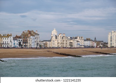 EASTBOURNE, EAST SUSSEX/UK - NOVEMBER 4 : View of the skyline in Eastbourne East Sussex on November 4, 2018. Unidentified people