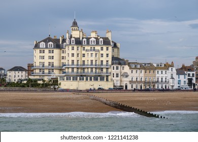 EASTBOURNE, EAST SUSSEX/UK - NOVEMBER 4 : View of the Queens Hotel in Eastbourne on November 4, 2018. Unidentified people
