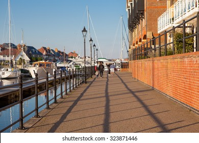 EASTBOURNE, ENGLAND - OCTOBER 02. Yachts in Sovereign harbour marina in the evening light on October 02, 2015, Eastbourne, East Sussex, England, selective focus
