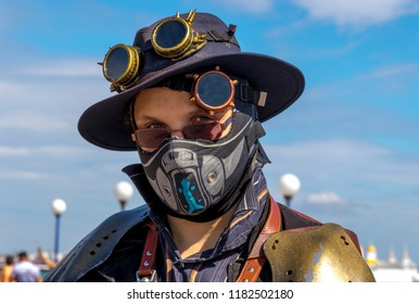EASTBOURNE, ENGLAND – SEPTEMBER 9, 2018: SteamPunk Science Fantasy fans promenade along the coast of Eastbourne, on the South of England. TA wonderful example of Victoriana science fiction.