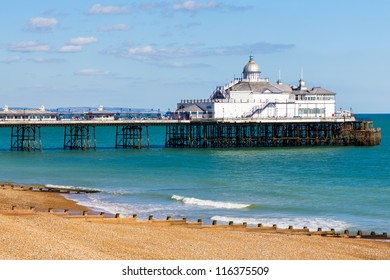 Eastbourne Pier and beach, East Sussex England UK