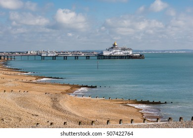 Eastbourne pier and beach, seaside town in East Sussex, UK