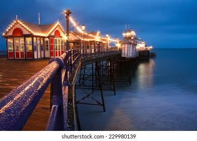 Eastbourne pier at dusk, East Sussex, UK.