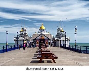 Eastbourne Pier, East Sussex, England, April 2017; Eastbourne Pier, opened June 1870, restored following a devastating fire in July 2014