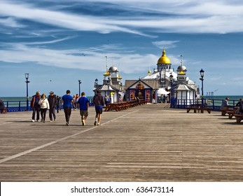Eastbourne Pier, East Sussex, England, April 2017; Eastbourne Pier, opened June 1870, restored following a devastating fire in July 2014; good copy space