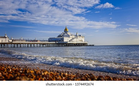 Eastbourne Pier on a sunny Winter's day, East Sussex, England, UK.