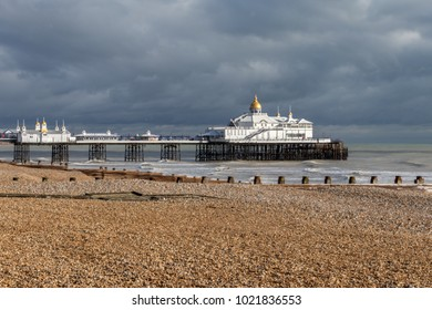Eastbourne Seafront And Eastbourne Pier On A Overcast Day.