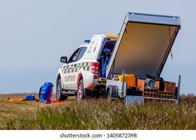 Eastbourne, Sussex, UK. 23rd May 2019. Coastguard 4x4 with trailer parked at the top of Beachy Head.