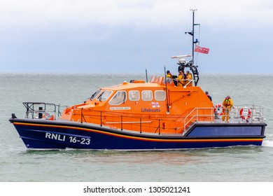 Eastbourne Sussex UK; 29th April 2018: Eastbourne Tamar Lifeboat 16-23 launches to sea on exercise