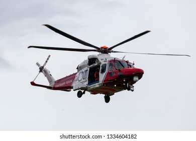 Eastbourne Sussex, UK: 29th Jan 2019: Coastguard helicopter lands at Beachy Head after reports of a missing person