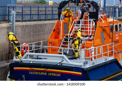 Eastbourne, Sussex, UK. 7th Jun 2019: Eastbournes All Weather Lifeboat was this evening called out to a yacht in trouble near shore. Yacht was towed to the safety of Eastbourne's Sovereign Harbour