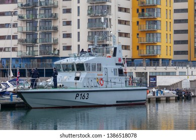 Eastbourne Sussex UK, May 1st 2019: HMS Express Royal Navy training vessel arrived in Eastbourne Harbour today