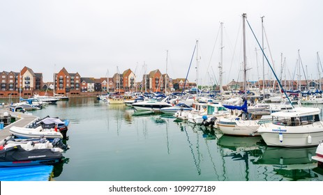 EASTBOURNE, SUSSEX, UK - MAY 20,2018: Opened in 1993, Sovereign Harbour in Eastbourne consists of four separate harbours, retail park and several housing projects with permanent and holiday properties