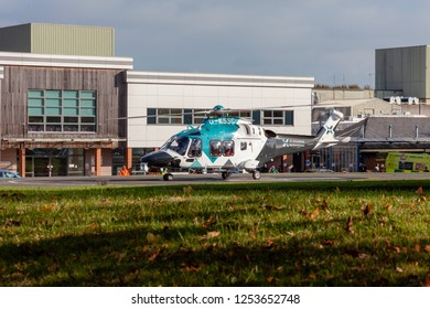 Eastbourne Sussex, UK: October 25th 2018; The Kent Surrey Sussex air ambulance helicopter landed at Eastbourne District General Hospital today after attending a patient with a medical episode.