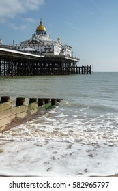EASTBOURNE, SUSSEX/UK - FEBRUARY 19 : View of the Pier in Eastbourne Sussex on February 19, 2017. Unidentified people