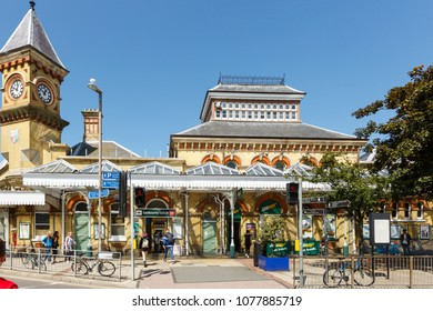Eastbourne, United Kingdom - AUGUST 1, 2017: facade of the Eastbourne train station in summer sunny day