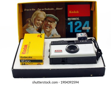 Eastchester New York - January 18, 2021. A Kodak instamatic 124 camera and its original box. The camera takes 126 film. It was produced between 1968-1971, has a two-speed shutter, uses flashcubes