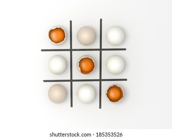 Easter 3d render illustration of Noughts and Crosses, nine eggs from top view