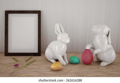 Easter abstract composition with easter bunnies, eggs, and frame in front of a white wall