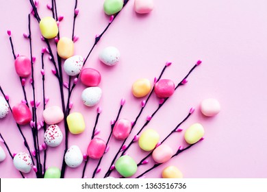 easter aggs colorfull background with candyes