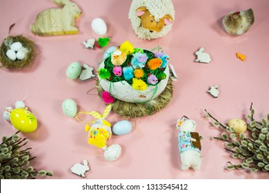 Easter background with Easter bunny, catkins, sheep, lamb, chicks, easter eggs
