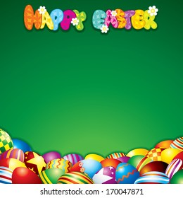 Easter Background with Colorful Painted Eggs.