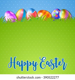 Easter background and egg in grass. several colorful eggs and in green grass, blue sky on background, illustration Raster version