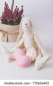 Easter background with Easter eggs and Heather flowers blossom Easter Bunny Tonned Image