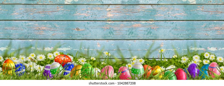 Easter background with Easter eggs on wooden board