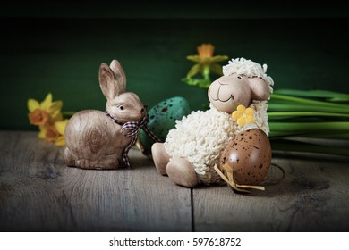 easter background with eggs, spring flowers and decoration