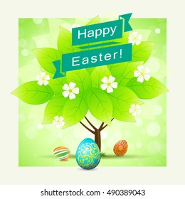 Easter Background with Green Tree and Easter Eggs